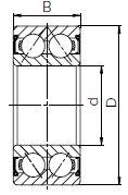 Закрытый металлической шайбой шариковый двухрядный подшипник чертеж