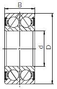 Закрытый резиной шариковый двухрядный подшипник чертеж