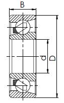 Однорядный радиально-упорный шарикоподшипник C чертеж