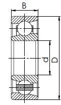 Однорядный радиально-упорный шарикоподшипник B чертеж