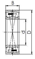 Чертеж двухрядного самоустанавливающегося роликового подшипника с латунным сепаратором