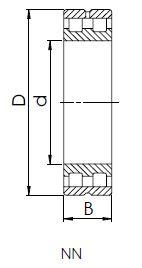 Чертеж роликового двухрядного подшипника с цилиндрической посадкой
