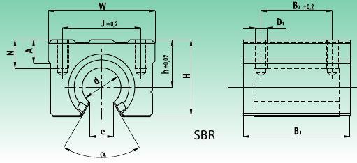 Линейный подшипниковый узел SBR открытый чертеж