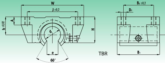 Линейный подшипниковый узел TBR открытый чертеж