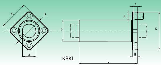 Чертеж линейного подшипника с квадратным фланцем длинного