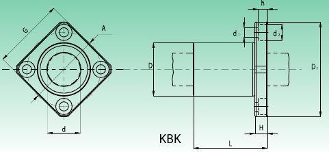 Чертеж линейного подшипника с квадратным фланцем